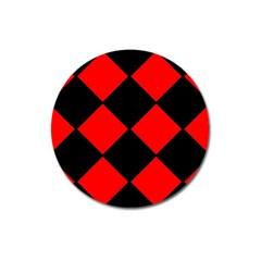 Red Black Square Pattern Magnet 3  (round) by Nexatart