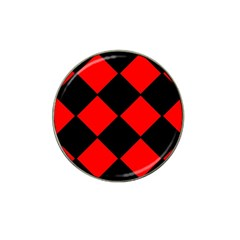 Red Black Square Pattern Hat Clip Ball Marker (10 Pack) by Nexatart