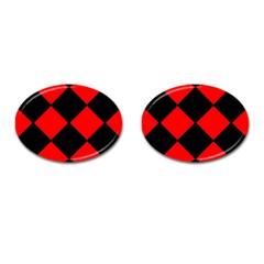 Red Black Square Pattern Cufflinks (oval) by Nexatart