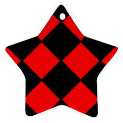 Red Black Square Pattern Star Ornament (two Sides)