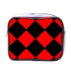 Red Black Square Pattern Mini Toiletries Bags