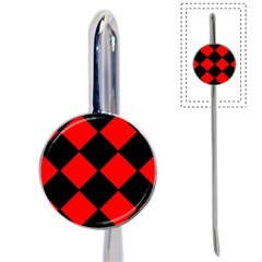 Red Black Square Pattern Book Mark by Nexatart