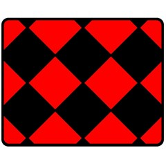Red Black Square Pattern Fleece Blanket (medium)  by Nexatart