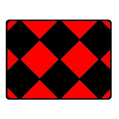 Red Black Square Pattern Fleece Blanket (small) by Nexatart