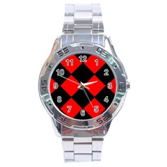 Red Black Square Pattern Stainless Steel Analogue Watch by Nexatart