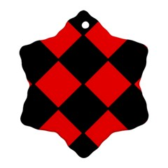 Red Black Square Pattern Ornament (snowflake) by Nexatart