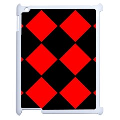 Red Black Square Pattern Apple Ipad 2 Case (white)