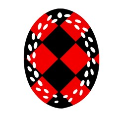 Red Black Square Pattern Oval Filigree Ornament (two Sides) by Nexatart