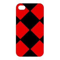 Red Black Square Pattern Apple Iphone 4/4s Hardshell Case by Nexatart