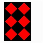 Red Black square Pattern Small Garden Flag (Two Sides) Back