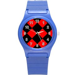 Red Black Square Pattern Round Plastic Sport Watch (s) by Nexatart