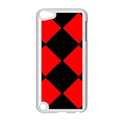 Red Black Square Pattern Apple Ipod Touch 5 Case (white)