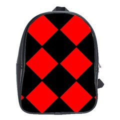 Red Black Square Pattern School Bags (xl)