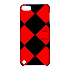 Red Black Square Pattern Apple Ipod Touch 5 Hardshell Case With Stand by Nexatart