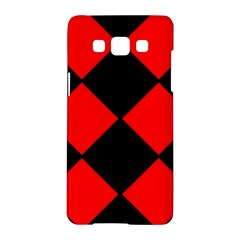 Red Black Square Pattern Samsung Galaxy A5 Hardshell Case  by Nexatart