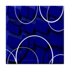 Blue Abstract Pattern Rings Abstract Tile Coasters by Nexatart