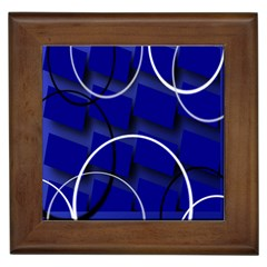 Blue Abstract Pattern Rings Abstract Framed Tiles