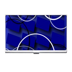 Blue Abstract Pattern Rings Abstract Business Card Holders by Nexatart