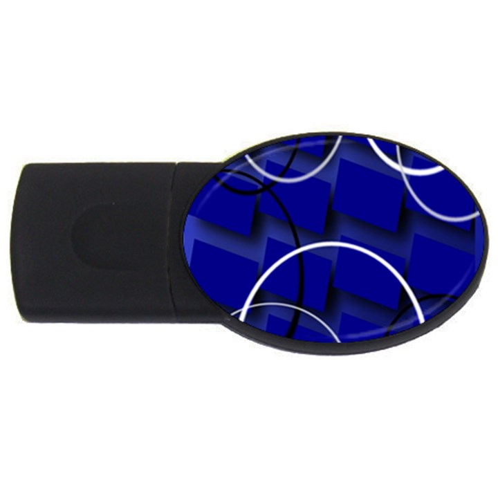 Blue Abstract Pattern Rings Abstract USB Flash Drive Oval (2 GB)
