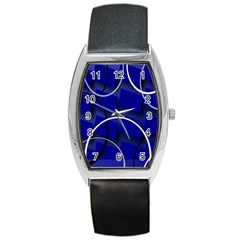 Blue Abstract Pattern Rings Abstract Barrel Style Metal Watch by Nexatart