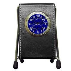 Blue Abstract Pattern Rings Abstract Pen Holder Desk Clocks