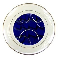 Blue Abstract Pattern Rings Abstract Porcelain Plates by Nexatart