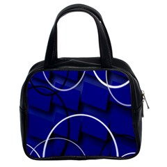 Blue Abstract Pattern Rings Abstract Classic Handbags (2 Sides) by Nexatart