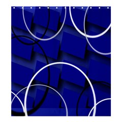 Blue Abstract Pattern Rings Abstract Shower Curtain 66  X 72  (large)