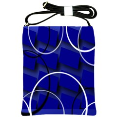 Blue Abstract Pattern Rings Abstract Shoulder Sling Bags by Nexatart