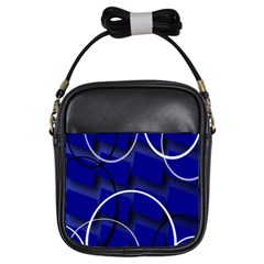 Blue Abstract Pattern Rings Abstract Girls Sling Bags by Nexatart