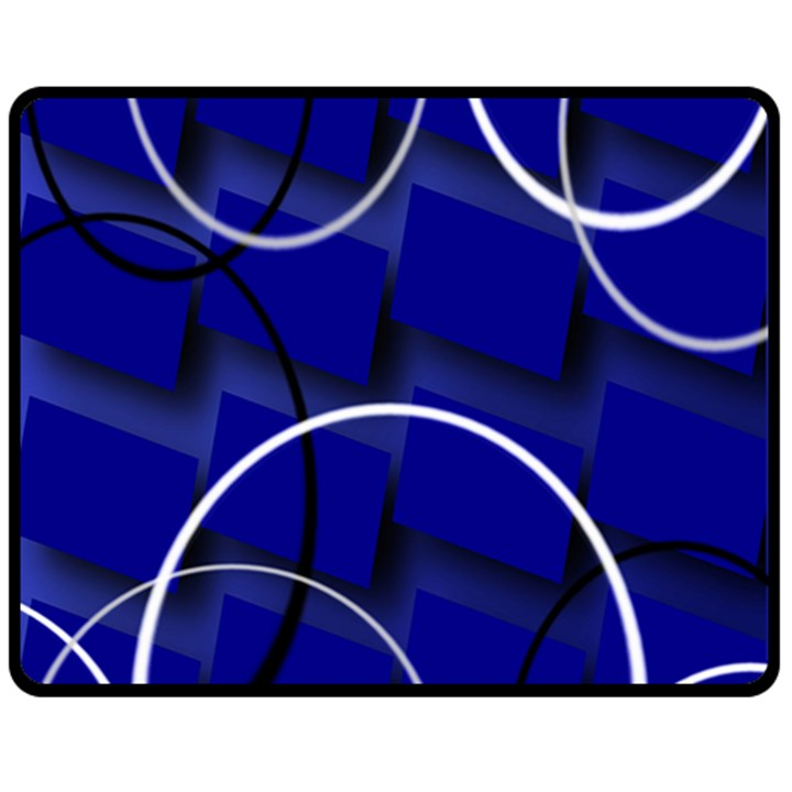 Blue Abstract Pattern Rings Abstract Fleece Blanket (Medium)