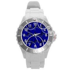 Blue Abstract Pattern Rings Abstract Round Plastic Sport Watch (l) by Nexatart