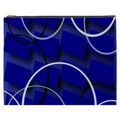 Blue Abstract Pattern Rings Abstract Cosmetic Bag (xxxl)  by Nexatart