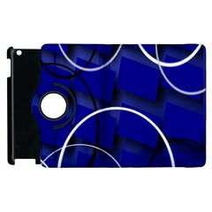 Blue Abstract Pattern Rings Abstract Apple Ipad 2 Flip 360 Case