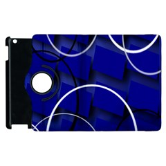 Blue Abstract Pattern Rings Abstract Apple Ipad 3/4 Flip 360 Case by Nexatart