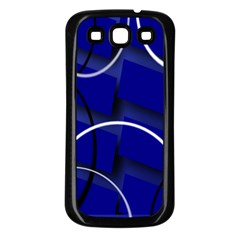 Blue Abstract Pattern Rings Abstract Samsung Galaxy S3 Back Case (black)