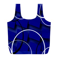 Blue Abstract Pattern Rings Abstract Full Print Recycle Bags (l)  by Nexatart
