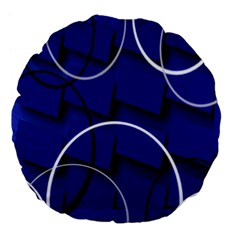 Blue Abstract Pattern Rings Abstract Large 18  Premium Flano Round Cushions by Nexatart