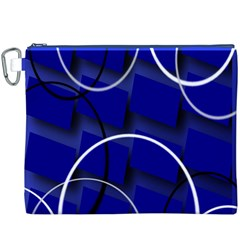 Blue Abstract Pattern Rings Abstract Canvas Cosmetic Bag (xxxl) by Nexatart