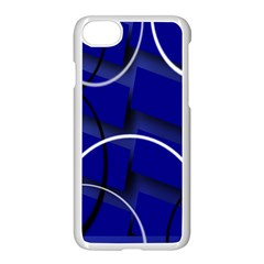 Blue Abstract Pattern Rings Abstract Apple iPhone 7 Seamless Case (White) by Nexatart