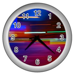 Abstract Background Pictures Wall Clocks (silver)  by Nexatart