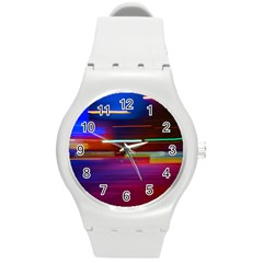 Abstract Background Pictures Round Plastic Sport Watch (m) by Nexatart