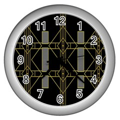 Simple Art Deco Style Art Pattern Wall Clocks (silver)  by Nexatart