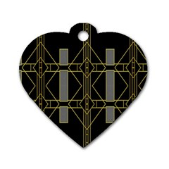 Simple Art Deco Style Art Pattern Dog Tag Heart (one Side)