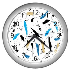 Abstract Image Image Of Multiple Colors Wall Clocks (silver)  by Nexatart