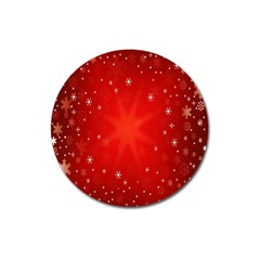 Red Holiday Background Red Abstract With Star Magnet 3  (round) by Nexatart
