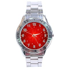 Red Holiday Background Red Abstract With Star Stainless Steel Analogue Watch by Nexatart
