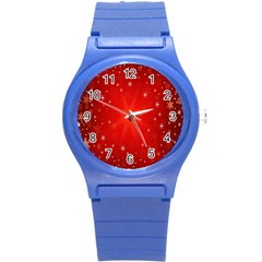 Red Holiday Background Red Abstract With Star Round Plastic Sport Watch (s) by Nexatart