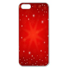 Red Holiday Background Red Abstract With Star Apple Seamless Iphone 5 Case (clear)