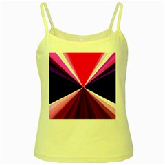 Red And Purple Triangles Abstract Pattern Background Yellow Spaghetti Tank